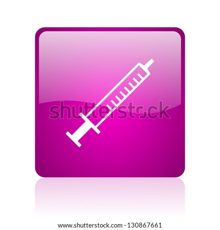 syringe violet square web glossy icon