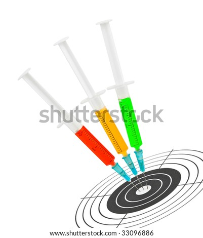 Syringes and target isolated on white background