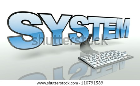 System concept with computer and keyboard