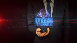 System Hacked warning concept with skull symbol, cyber attack alert, danger and computer security breach icon. Futuristic abstract 3d rendering illustration.