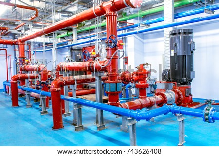 System installation in new pump room. stock photo