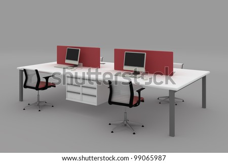 System office desks with partitions.Furniture isolated on gray background.