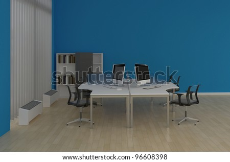 system office desks with partitions in the blue interior