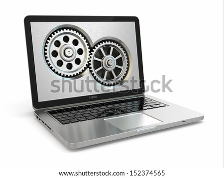 System properties concept. Laptop and gears. 3d