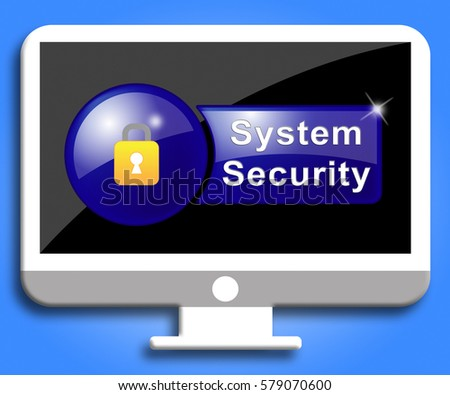 System Security Screen Padlock Shows Computer Firewall And Protection