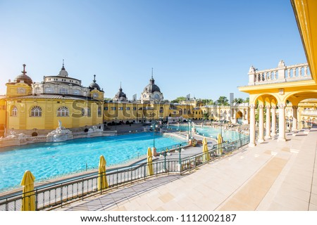Szechenyi outdoor thermal baths during the morning light without people in Budapest, Hungary Сток-фото ©