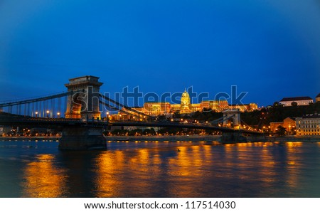 Szechenyi suspension bridge in Budapest, Hungary in the morning time with the Buda castle behind it