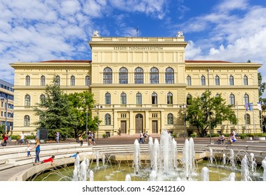 Stock Photo: SZEGED, HUNGARY - 6 JULY, 2016: The Szeged University on the Dugonich square in the downtown of Szeged. It is one of Hungary's most important universities.