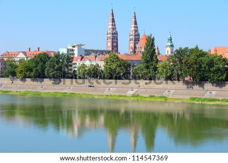 Szeged, Hungary. City in Csongrad county. Cityscape with Tisza river. - stock photo