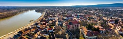 Szentendre, Hungary - Aerial panoramic view of the city of Szentendre on a sunny day with Belgrade Serbian Orthodox Cathedral, Saint John the Baptist's Parish Church, Saint Peter and Paul Church