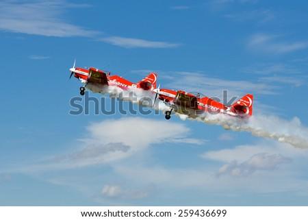 SZYMANOW, POLAND - AUGUST 25, 2012: Aerobatic group formation \
