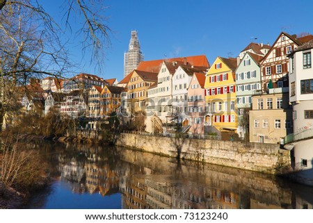 Tübingen am Neckar, Germany - Colorful Old Houses at the Neckar Riverside. - stock photo