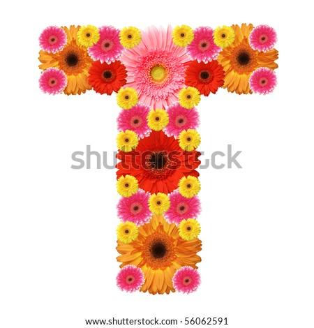 T, flower alphabet isolated on white