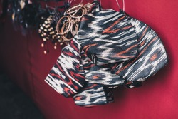 T'nalak purses, made from the fiber of Abaca plant, handwoven by the indigenous Filipino in the southern Philippines. Selected focus. Copy space.