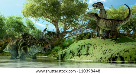 T-Rex Defiance - Two Tyrannosaurus dinosaurs roar in frustration as Coahuilaceratops dinosaur uses the water as a refuge from attack.
