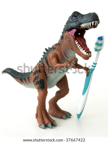 T-Rex showing his teeth - stock photo