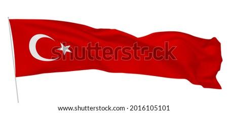 Türkiye bayrak beyaz zemin, translation: Turkey flag white background, isolated  Stok fotoğraf ©