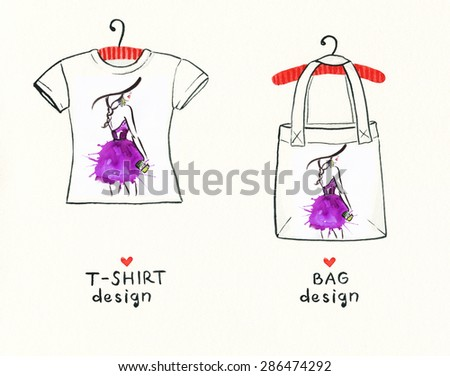 t-shirt and bag design.woman with elegant hat .abstract watercolor .fashion background