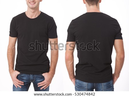 Shutterstock t-shirt design and people concept - close up of young man in blank black t-shirt, shirt front and rear isolated.
