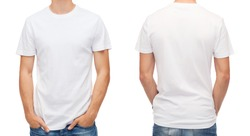 t-shirt design and people concept - close up of young man in blank white t-shirt