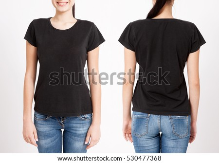 T-shirt design and people concept - close up of young woman in blank black t-shirt, shirt front and rear isolated. #530477368