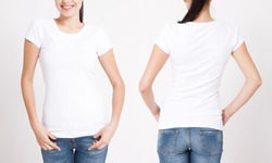 T-shirt design and people concept - close up of young woman in blank white t-shirt, shirt front and rear isolated. Mock up.