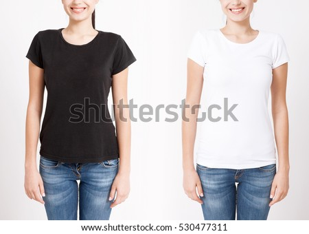 0eb8d475 T-shirt design and people concept - close up of young woman in shirt blank