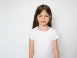 t-shirt design concept - smiling little girl in blank white t-shirt