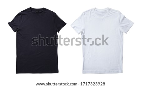 T-shirt design fashion concept, blank black and white t-shirt, shirt front isolated. Mock up for sublimation.