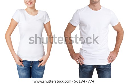 T-shirt design, people concept - closeup of young woman and man in blank white shirt, front isolated. Mock up template for design print.