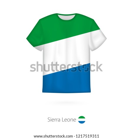 T-shirt design with flag of Sierra Leone. T-shirt template, raster copy.