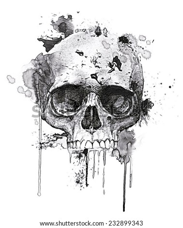 T-shirt Graphics/skull print/skull illustration/evil skull/concert posters/rock and roll themed graphic/T-shirt graphics for textile/Black grunge vector skull/Human skull on isolated white background