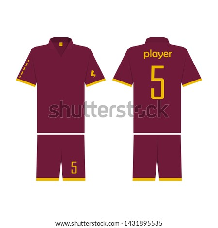 T-shirt sport design template for soccer jersey. Mock up football kit in front view and back view. Flat style, illustration.