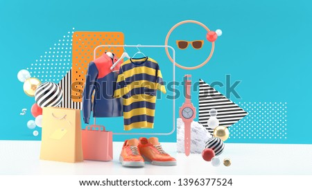 T-shirts and jackets on square rails Surrounded by shoes, watch, sun glasses and shopping bags On a blue background.-3d rendering.