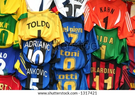 t-shirts of european and italian soccer teams