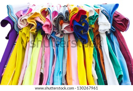 T-shirts with different colors and see which stitch and seam.