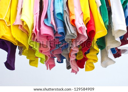 T-shirts with different colors and see which stitch and seam in the bottom.