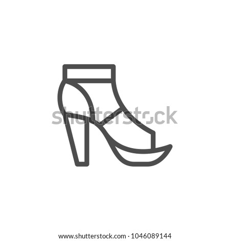 T-strap shoe line icon isolated on white