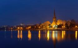 Tabacariei lake by night in Constanta city, Romania