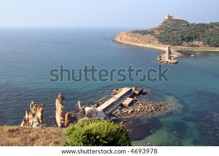 Tabarka, the Island with the Genoese Fort built in the 16th century at the harbour of Tabarka