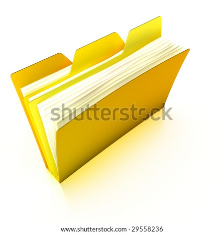 Tabbed folder (with a clipping path) - stock photo