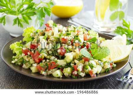 Tabbouleh salad with bulgur and parsley