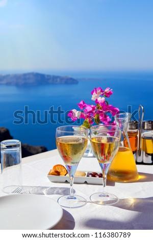 Table above sea for two. Greece, Santorini island