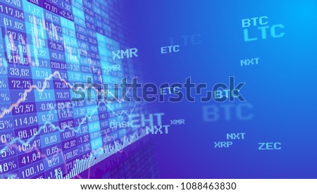 Table and bar graph of cryptocurrency stock exchange market indices concept. Abstract currency rate chart purple background.