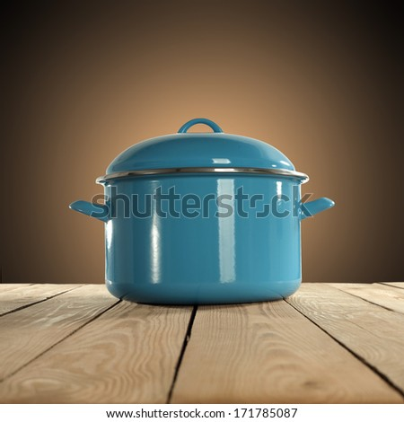 table and blue pot