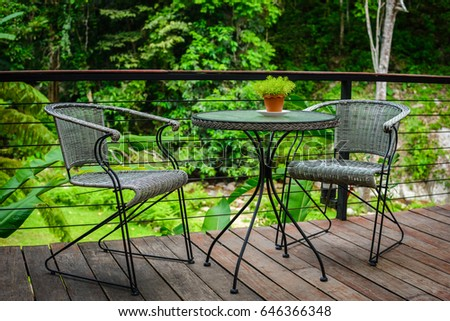 Table and chair in nature - Shutterstock ID 646366348