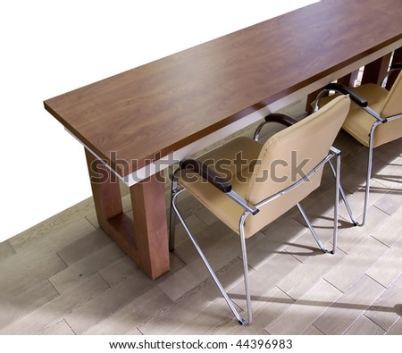 Table and chairs for office. White background. To conduct a press conference and business planning.