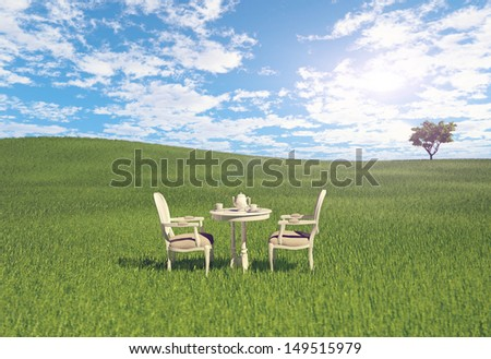 table and chairs on the meadow. 3d concept
