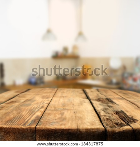 table and kitchen space