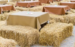 table and straw chair